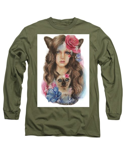 Long Sleeve T-Shirt featuring the mixed media Sweetheart by Sheena Pike