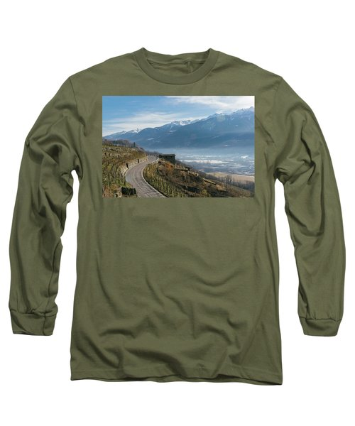 Swerving Road In Valtellina, Italy Long Sleeve T-Shirt