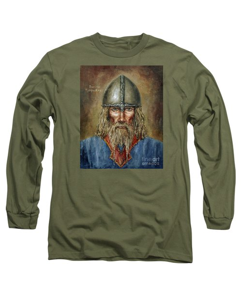 Sweyn Forkbeard Long Sleeve T-Shirt by Arturas Slapsys