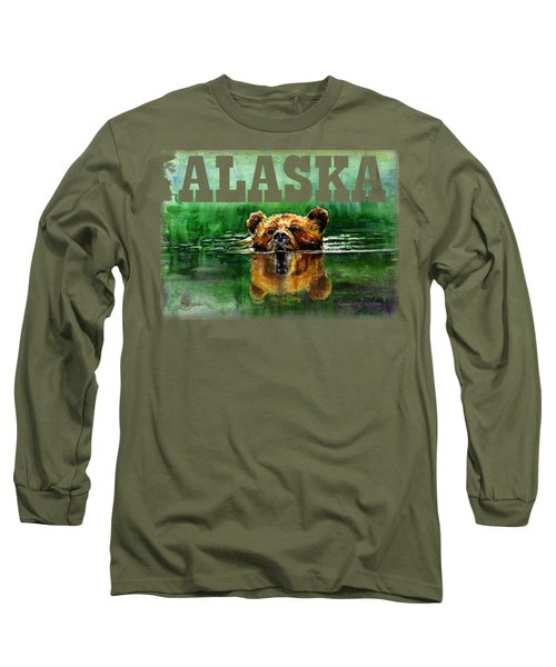 Swiming Grizzly Shirt Long Sleeve T-Shirt