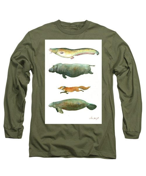 Swimming Animals Long Sleeve T-Shirt by Juan Bosco