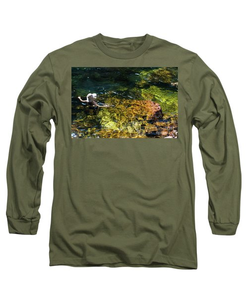 swimming in the Buley Rockhole waterfalls Long Sleeve T-Shirt