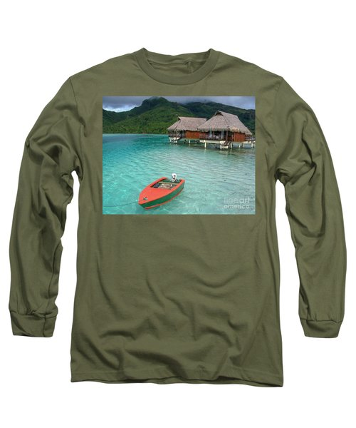Long Sleeve T-Shirt featuring the photograph Tahitian Boat by Jacqueline Faust