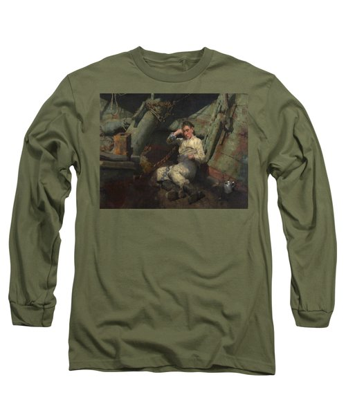 Long Sleeve T-Shirt featuring the painting Taking A Spell  by Henry Scott Tuke