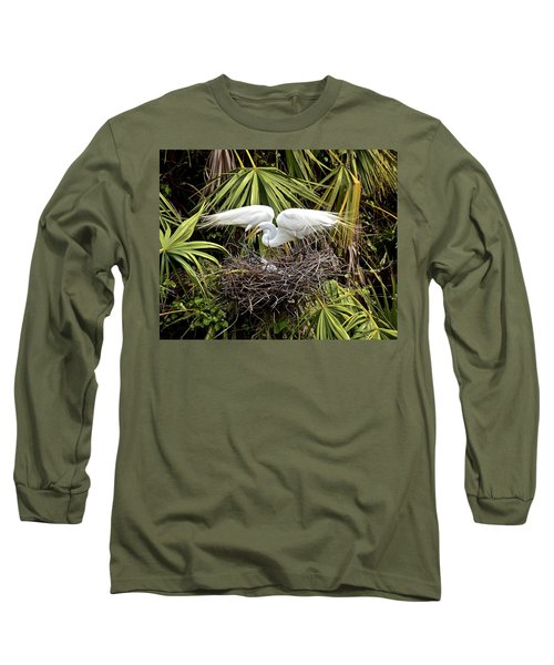 Taking Care Of Two Fuzzy Headed Babies Long Sleeve T-Shirt by Carol Bradley