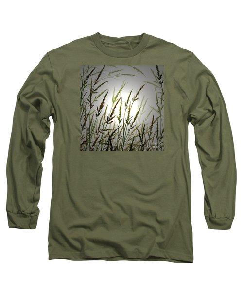 Long Sleeve T-Shirt featuring the digital art Tall Grass And Sunlight by James Williamson