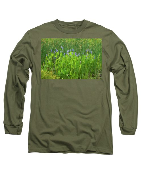 Tall Purple And Blue Blooming Flowers Long Sleeve T-Shirt