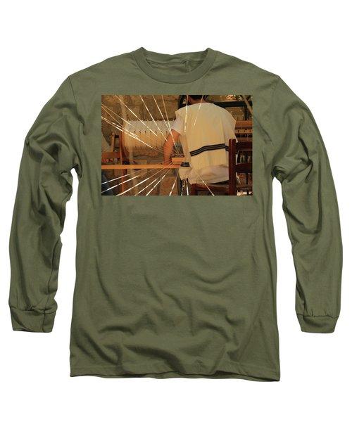 Long Sleeve T-Shirt featuring the photograph Jewish Prayer Shawl Weaving In Tzfat by Yoel Koskas