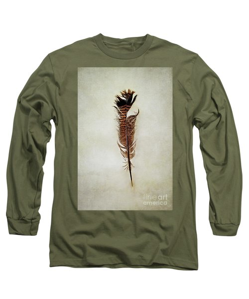 Long Sleeve T-Shirt featuring the photograph Tattered Turkey Feather by Stephanie Frey