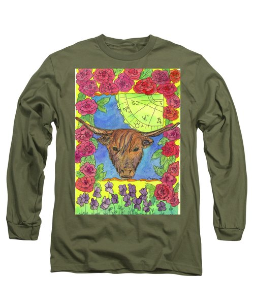 Long Sleeve T-Shirt featuring the painting Taurus by Cathie Richardson