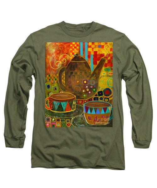 Tea Party With Klimt Long Sleeve T-Shirt by Robin Maria Pedrero