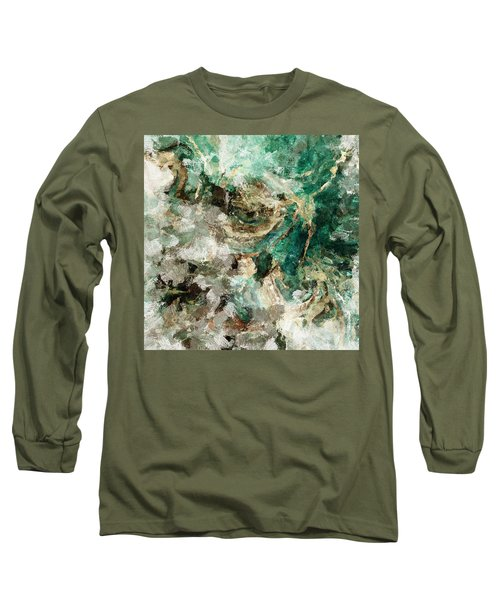 Teal And Cream Abstract Painting Long Sleeve T-Shirt by Ayse Deniz