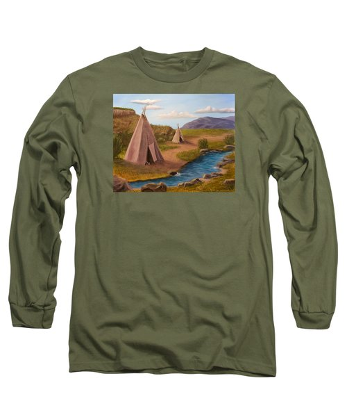 Teepees On The Plains Long Sleeve T-Shirt by Sheri Keith