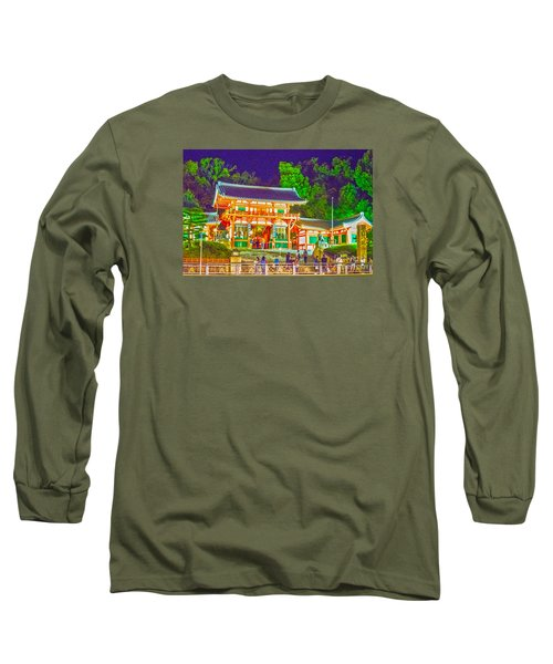Long Sleeve T-Shirt featuring the painting Temple In Kyoto by Pravine Chester