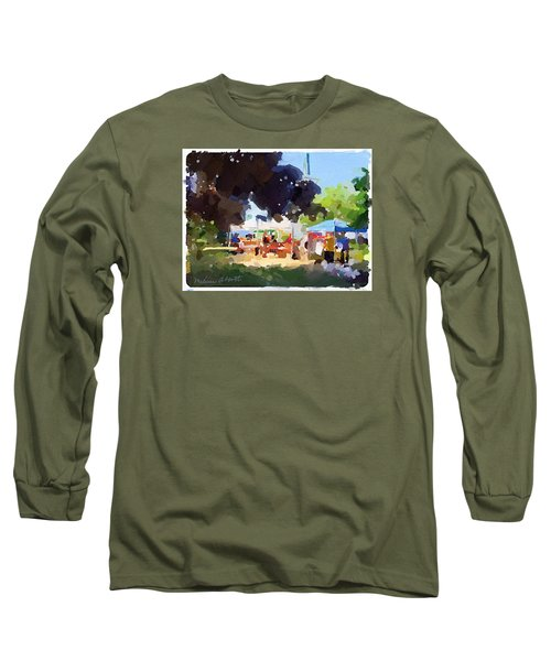 Tents And Church Steeple At Rockport Farmers Market Long Sleeve T-Shirt