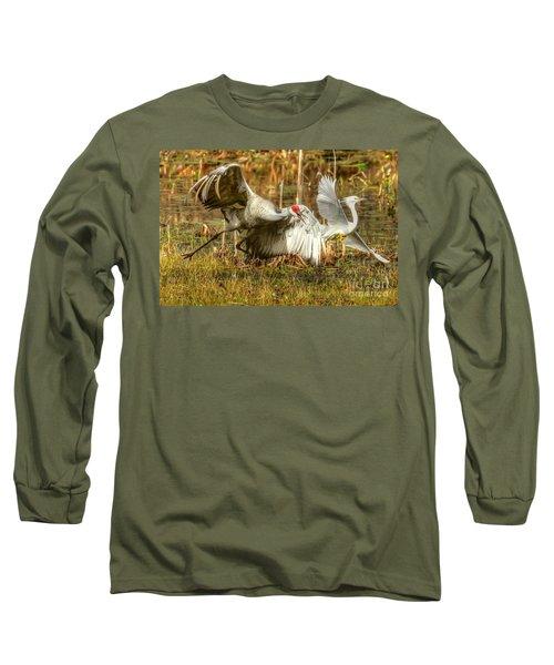 Territorial Dispute Long Sleeve T-Shirt by Myrna Bradshaw