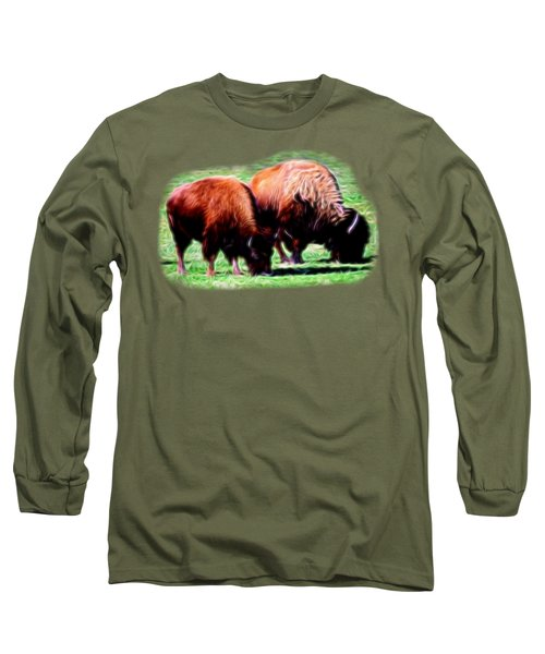 Texas Bison Long Sleeve T-Shirt by Linda Phelps