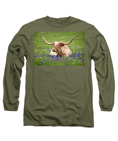 Texas Longhorn In Bluebonnets Long Sleeve T-Shirt by Jon Holiday