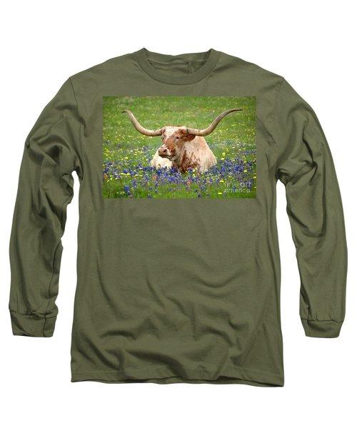 Texas Longhorn In Bluebonnets Long Sleeve T-Shirt
