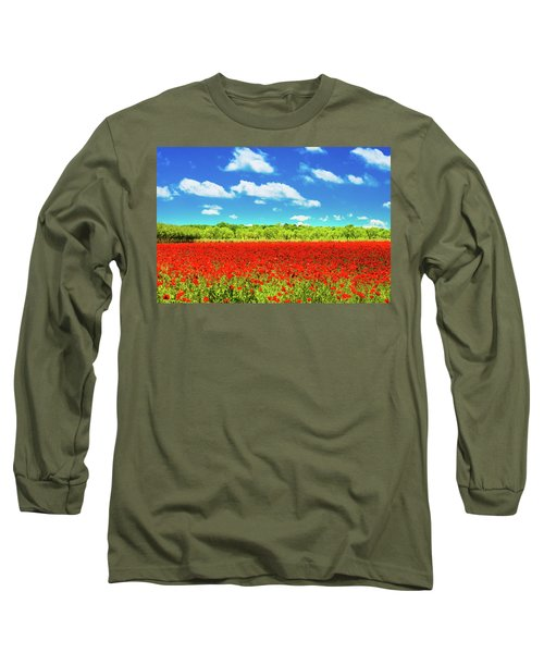 Texas Red Poppies Long Sleeve T-Shirt