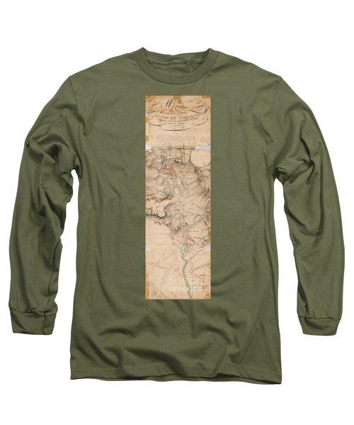Texas Revolution Santa Anna 1835 Map For The Battle Of San Jacinto  Long Sleeve T-Shirt by Peter Gumaer Ogden Collection