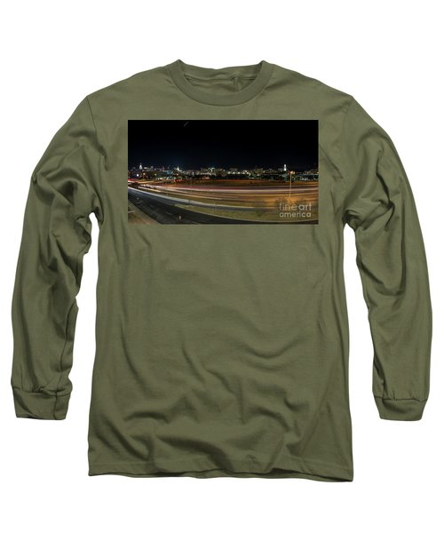 Texas University Tower And Downtown Austin Skyline From Ih35 Long Sleeve T-Shirt