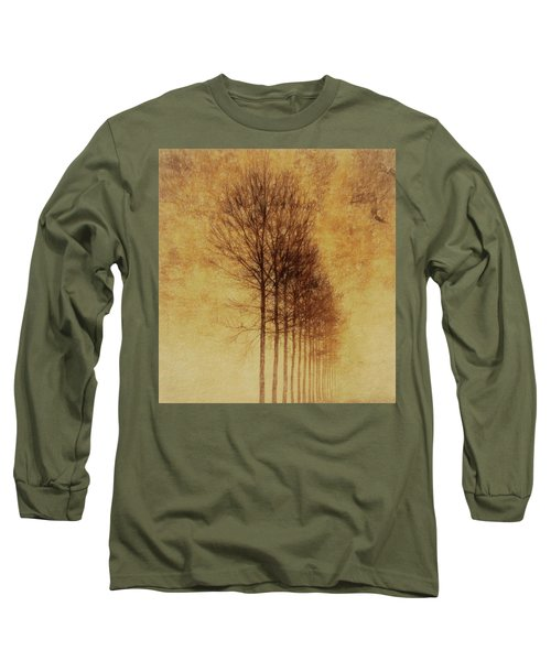 Long Sleeve T-Shirt featuring the mixed media Textured Eerie Trees by Dan Sproul