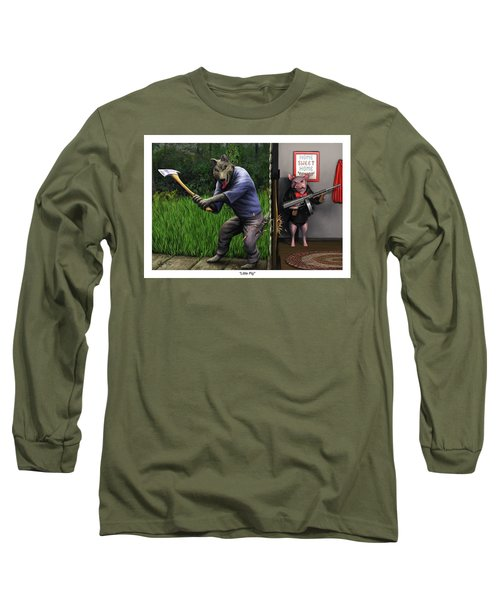 Long Sleeve T-Shirt featuring the painting That's What You Think Wolf by Dave Luebbert