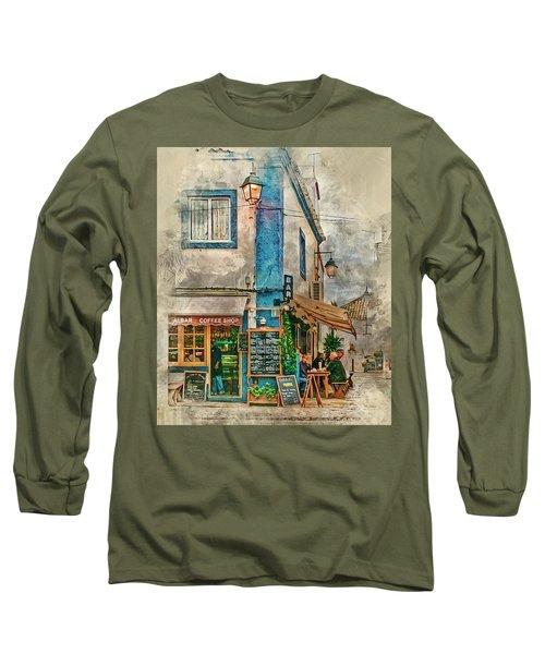 The Albar Coffee Shop In Alvor. Long Sleeve T-Shirt by Brian Tarr