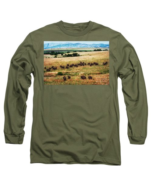 The American Bison Herd Long Sleeve T-Shirt