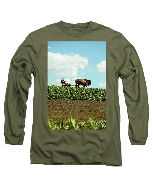 The Amish Farmer With Horses In Tobacco Field Long Sleeve T-Shirt