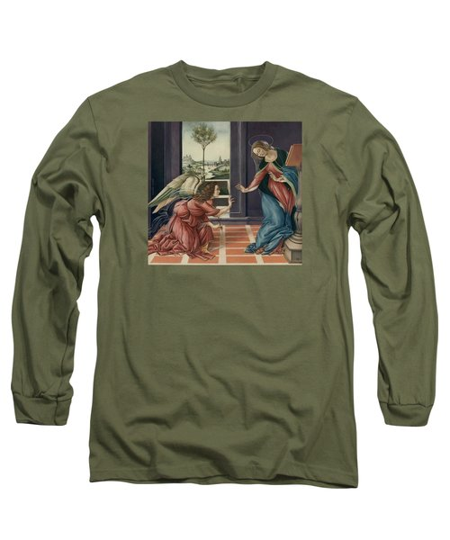 The Annunciation After Botticelli Long Sleeve T-Shirt by Yvonne Wright