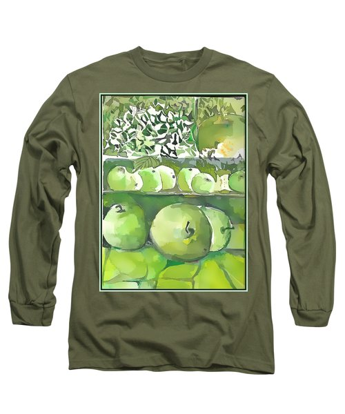Long Sleeve T-Shirt featuring the painting The Apple Closet by Mindy Newman