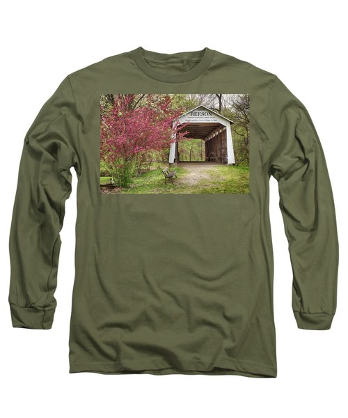 Long Sleeve T-Shirt featuring the photograph The Beeson Covered Bridge by Harold Rau
