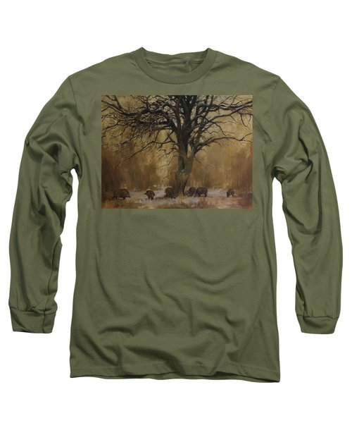 The Big Tree With Wild Boars Long Sleeve T-Shirt