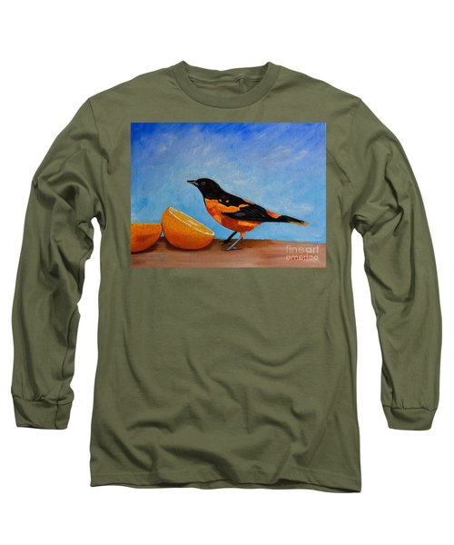 The Bird And Orange Long Sleeve T-Shirt by Laura Forde