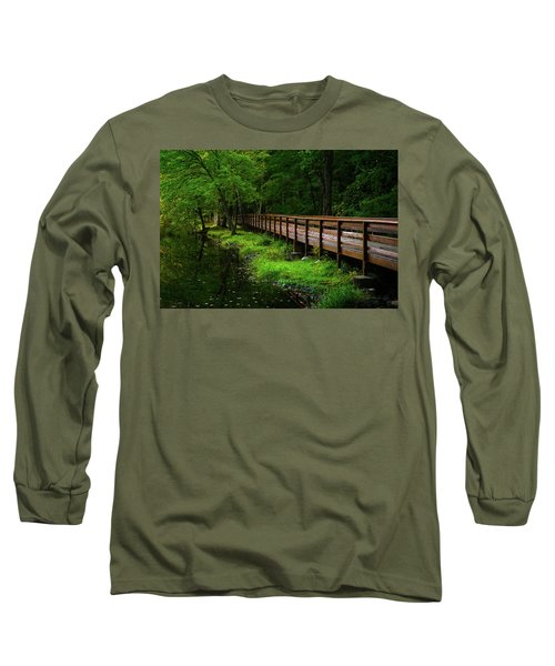 Long Sleeve T-Shirt featuring the photograph The Bridge At Wolfe Park by Karol Livote