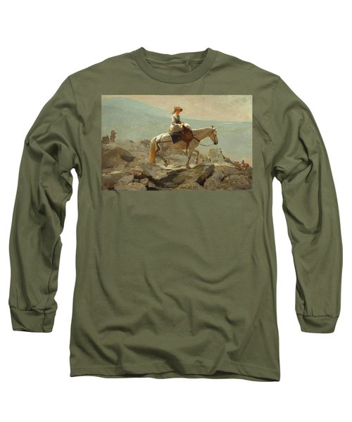 Long Sleeve T-Shirt featuring the painting The Bridle Path, White Mountains - 1868 by Winslow Homer