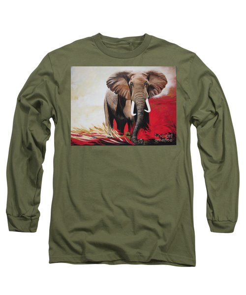 Long Sleeve T-Shirt featuring the painting The Bull Elephant - Constitution by Sigrid Tune