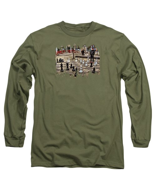 The Chess Match In Pdx Long Sleeve T-Shirt by Thom Zehrfeld