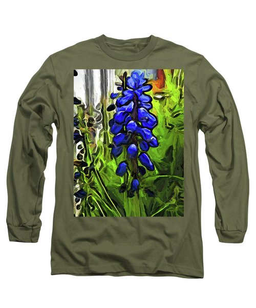 The Cobalt Blue Flowers And The Long Green Grass Long Sleeve T-Shirt