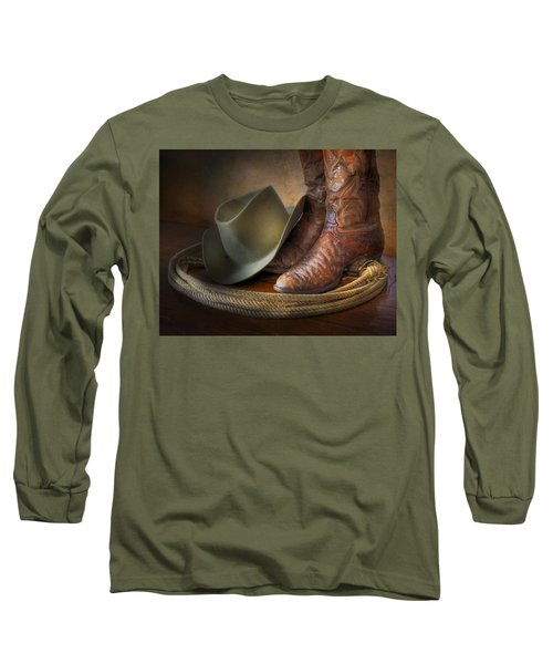 The Cowboy Boots, Hat And Lasso Long Sleeve T-Shirt by David and Carol Kelly