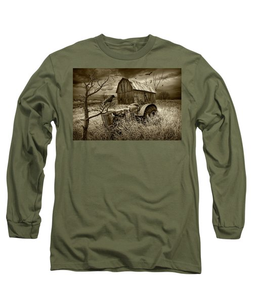 Long Sleeve T-Shirt featuring the photograph The Decline And Death Of The Small Farm In Sepia Tone by Randall Nyhof