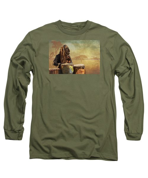 The Dream Of His Drums Long Sleeve T-Shirt by Christina Lihani