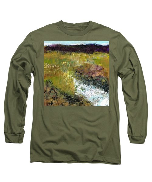 Long Sleeve T-Shirt featuring the painting The Farmers Ditch Fall by Frances Marino
