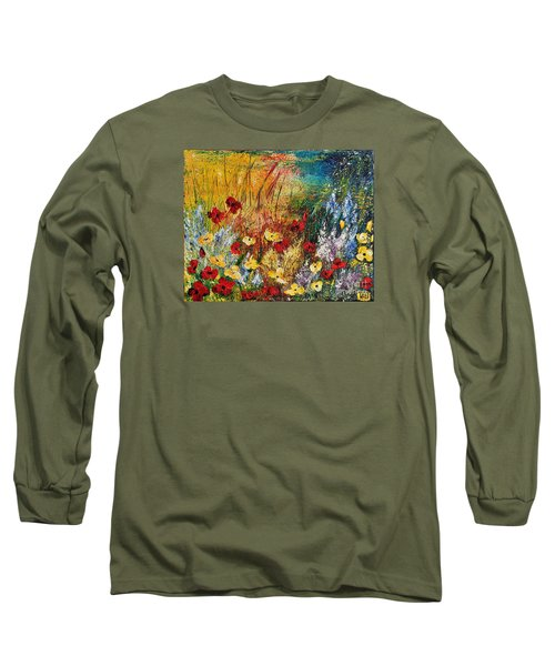 Long Sleeve T-Shirt featuring the painting The Field by Teresa Wegrzyn