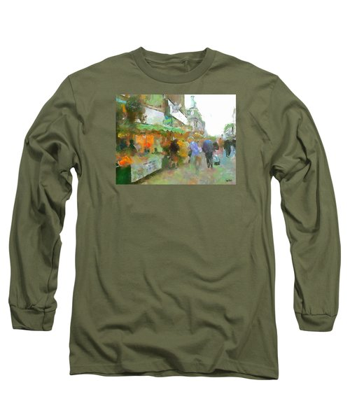 Long Sleeve T-Shirt featuring the painting The Food Fair by Wayne Pascall