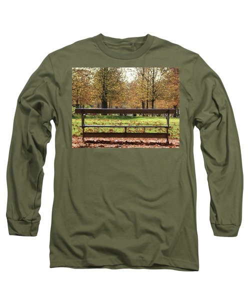 The French Bench And The Autumn Long Sleeve T-Shirt by Yoel Koskas