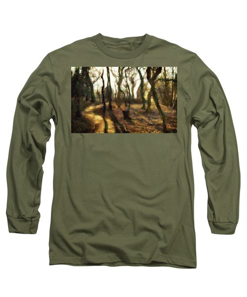 Long Sleeve T-Shirt featuring the digital art The Frightening Forest by Gun Legler
