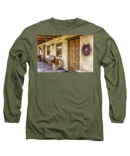 Long Sleeve T-Shirt featuring the tapestry - textile The Gage Hotel by Kathy Adams Clark